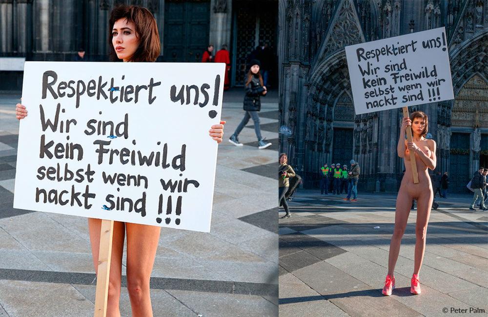 Protest gegen Sexmob auf der Kölner Domplatte, Milo Moiré